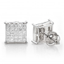 Princess Cut Diamond Earrings - Invisible Setting 1.15
