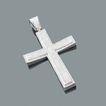 Real Hip Hop Jewelry: Sterling Silver Diamond Cross Pendant 2.45ct