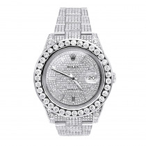 Rolex Datejust Mens Custom Diamond Watch 25.2ct Iced Out