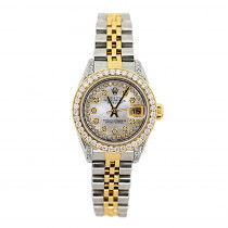 Rolex Oyster Perpetual Datejust Ladies Diamond Watch 2.2ct 18k Gold & Steel