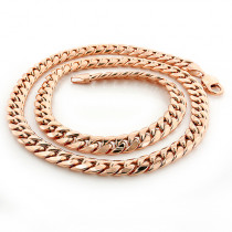 Rose Gold Miami Cuban Link Chain in 10K 22-40in 11mm