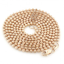 Rose Gold Moon Cut Bead Chain 10K 2mm 22-40in