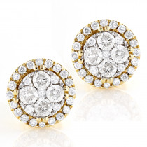 Round Diamond Cluster Earrings 14K Gold Studs 0.9ct