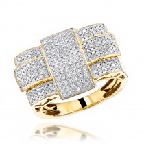 Solid 10K Gold Criss Cross Mens Diamond Ring 1.0 ct
