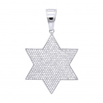 Solid 10K Gold Star of David Diamond Pendant for Men 1.35ct by Luxurman