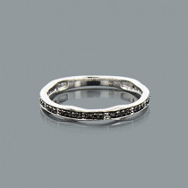 Ultra Thin Stackable Rings: 14K Gold Black Diamond Ring for Women 0.13ct