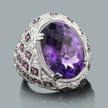 Statement Jewelry: Large Amethyst Cocktail Ring with Diamonds 0.11ct