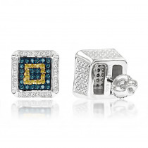 Square Sterling Silver Diamond Earrings Studs 0.35ct Yellow Blue Diamonds