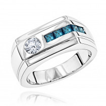 Unique 1 Carat White and Blue Diamonds Ring for Men in 14K Gold by Luxurman