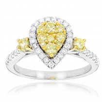 Unique 14K Gold One Carat Yellow White Diamond Ring for Women by Luxurman