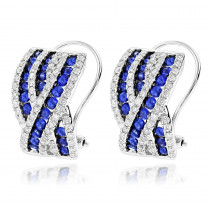 Unique Designer Diamonds and Blue Sapphires Earrings for Her 14k Gold