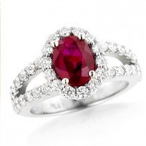 Unique Halo Diamond and Ruby Engagement Ring in Platinum 1ctd 1.35ctr