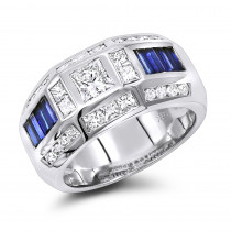 Unique Luxurman Bands 18K Gold Sapphire Diamond Ring for Men 3.5ct