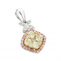 Unique White Yellow Pink Diamond Pendant for Women by Luxurman 0.78ct