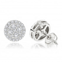 Unisex Round Diamond Stud Earrings Clusters in 14K Gold 1.75ct