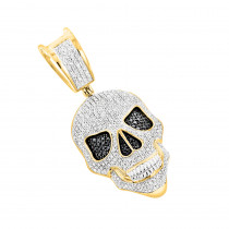 White and Black Diamond Iced Out Skull Pendant in 10K Gold 0.83ct