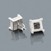 White Black Diamond Earrings 1.33ct Sterling Silver