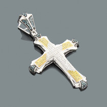 White Blue Yellow Diamond Cross Pendant 0.56ct Sterling Silver