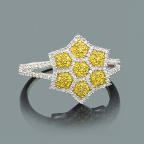White Yellow Diamond Star Ring 0.47ct 14K Gold