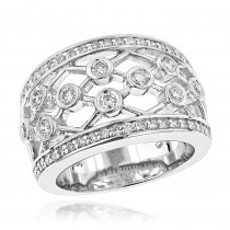 Wide 14K Gold Unique Diamond Right Hand Ring for Women by Luxurman 0.95ct