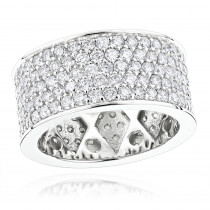 Wide 14K Gold Round Diamond Eternity Ring For Men & Women 6 Carats