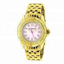 Yellow Gold Plated Ladies Diamond Pink MOP Watch by Luxurman 0.25ct