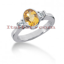 Ultra Thin Yellow Sapphire Engagement Ring with Diamonds 14K 0.24ctd 1.25cts