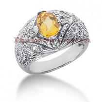 Yellow Sapphire Rings: Designer Diamond Engagement Ring 14K .37ctd 1.10cts