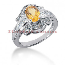 Yellow Sapphire Rings: Designer Diamond Engagement Ring 14K .64ctd 1.25cts