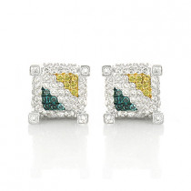 Yellow White Blue Diamond Earrings Studs 0.61ct Sterling Silver