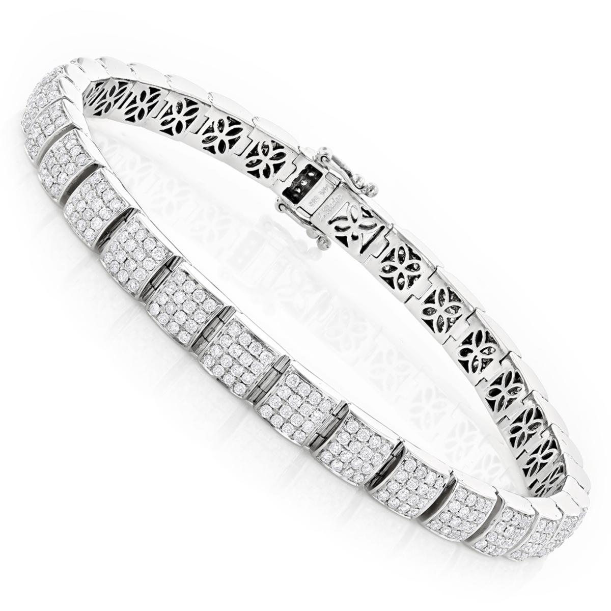 Dazzling Pave Diamond Bracelet 14K 6.31ct