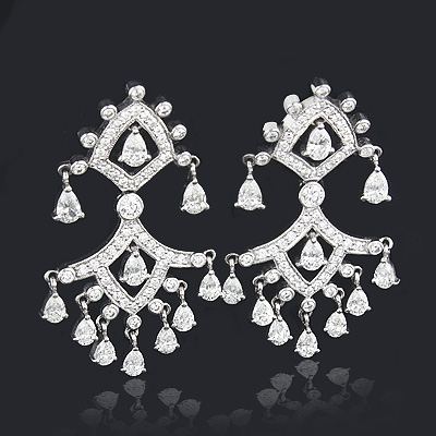Designer Chandelier Diamond Earrings 8.57ct 18K Gold