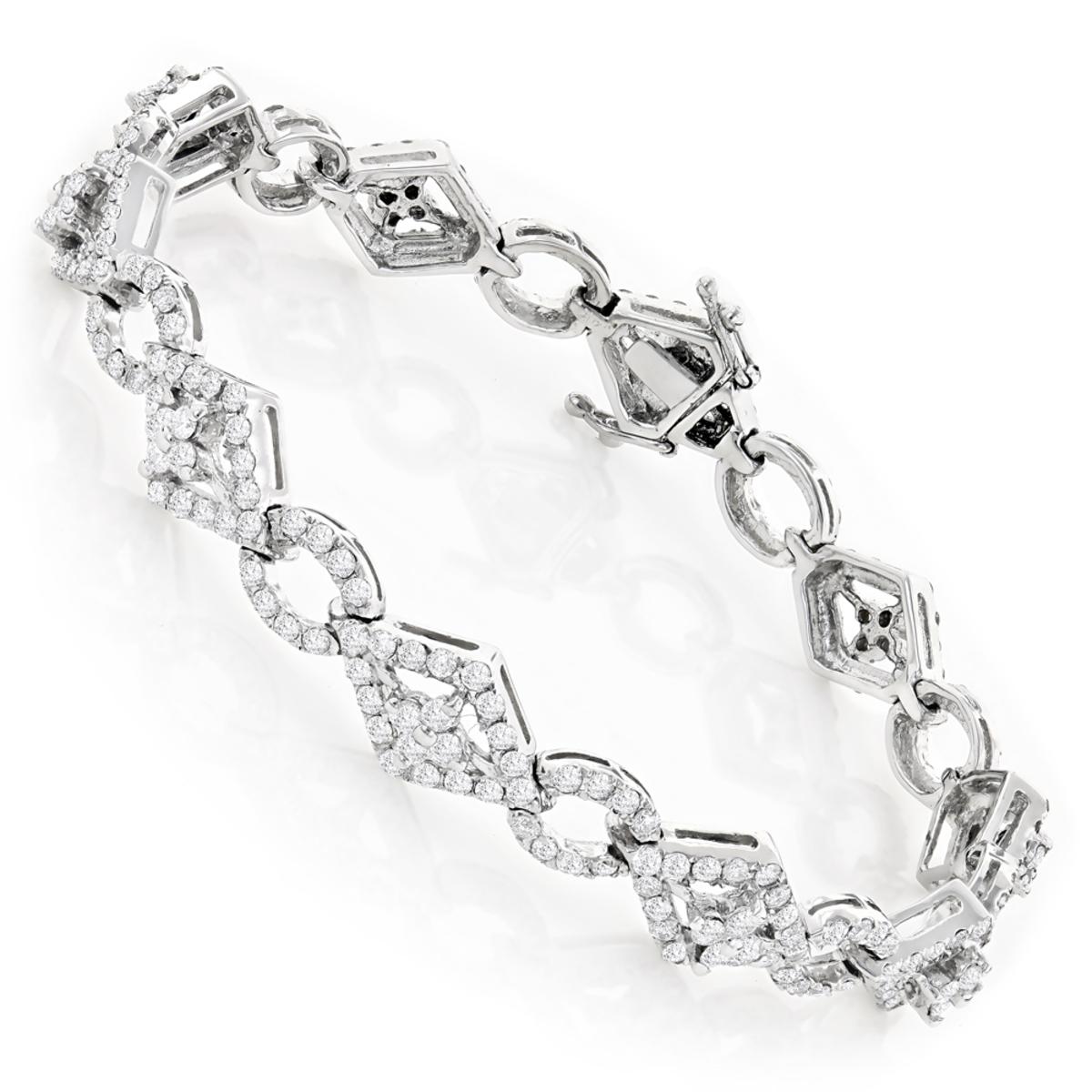 Designer Diamond Bracelet 14K 4.94ct