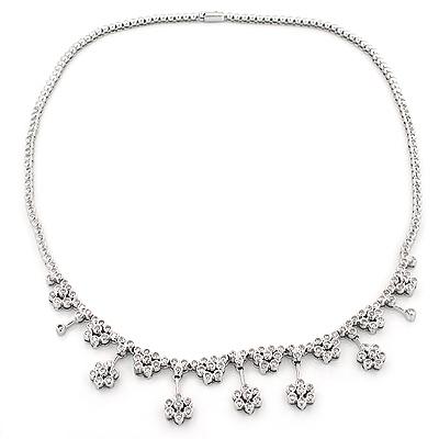 Designer Diamond Flower Necklace 3.25ct 14K Gold