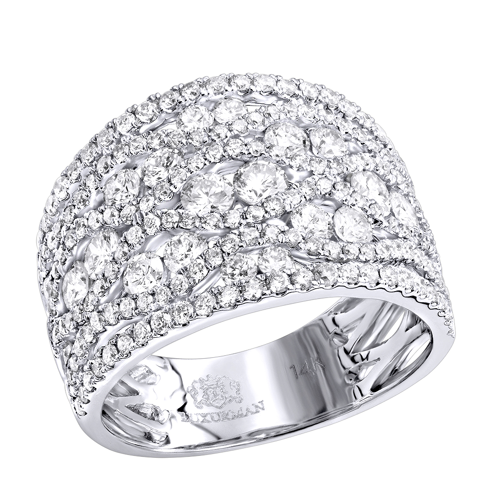 Designer Diamond Right Hand Ring For Women by Luxurman 14k Gold Band 2.35ct