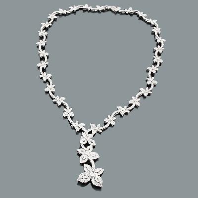 Designer Jewelry: Diamond Flower Necklace 15.53ct 18K Gold