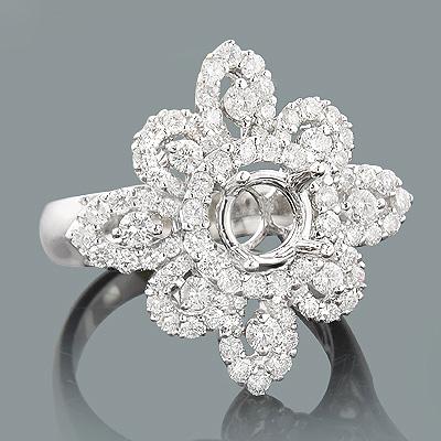 Halo Designer Mountings: 18K Gold Diamond Engagement Ring Setting 1.42ct