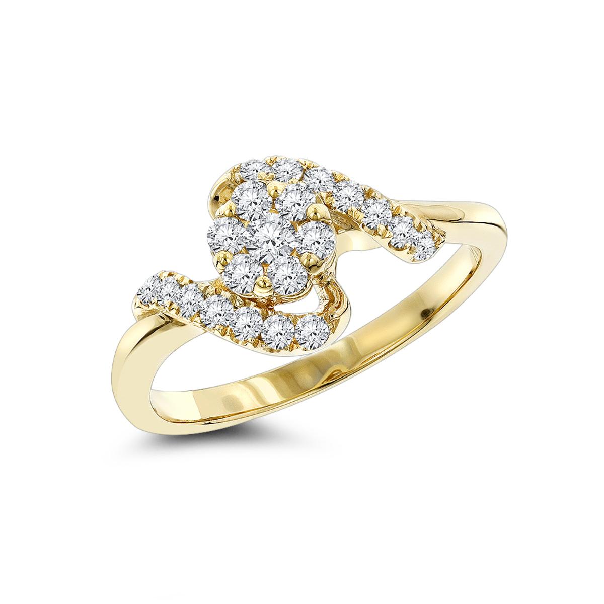 Diamond Cluster Engagement Ring 0.59ct 14K
