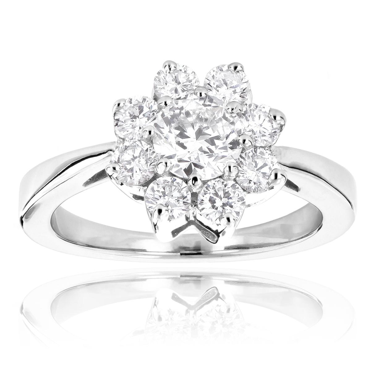 Ladies Diamond Cluster Rings: 14K Gold Diamond Flower Ring 1.2ct