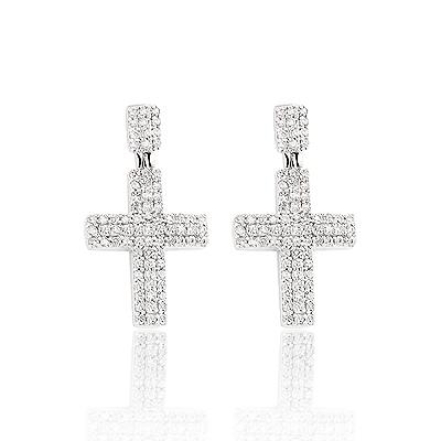 Diamond Cross Earrings 0.8ct Sterling Silver