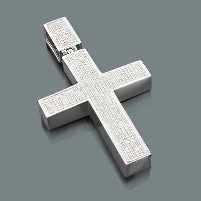 Diamond Cross Pendants for Men: 10K Gold Pendant 1.98ct