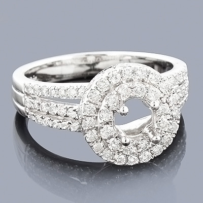 Halo Diamond Engagement Ring Mounting 1.16ct 14K Gold