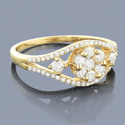 Diamond Flower Engagement Ring 14K 0.67ct