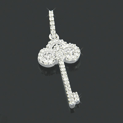 Diamond Key Pendants Small 14K Gold 0.15ct