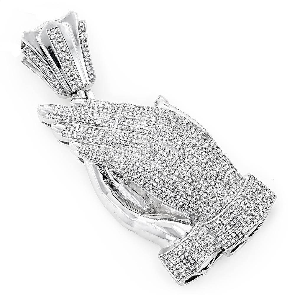 Diamond Praying Hands Pendant 3.00ct Sterling Silver