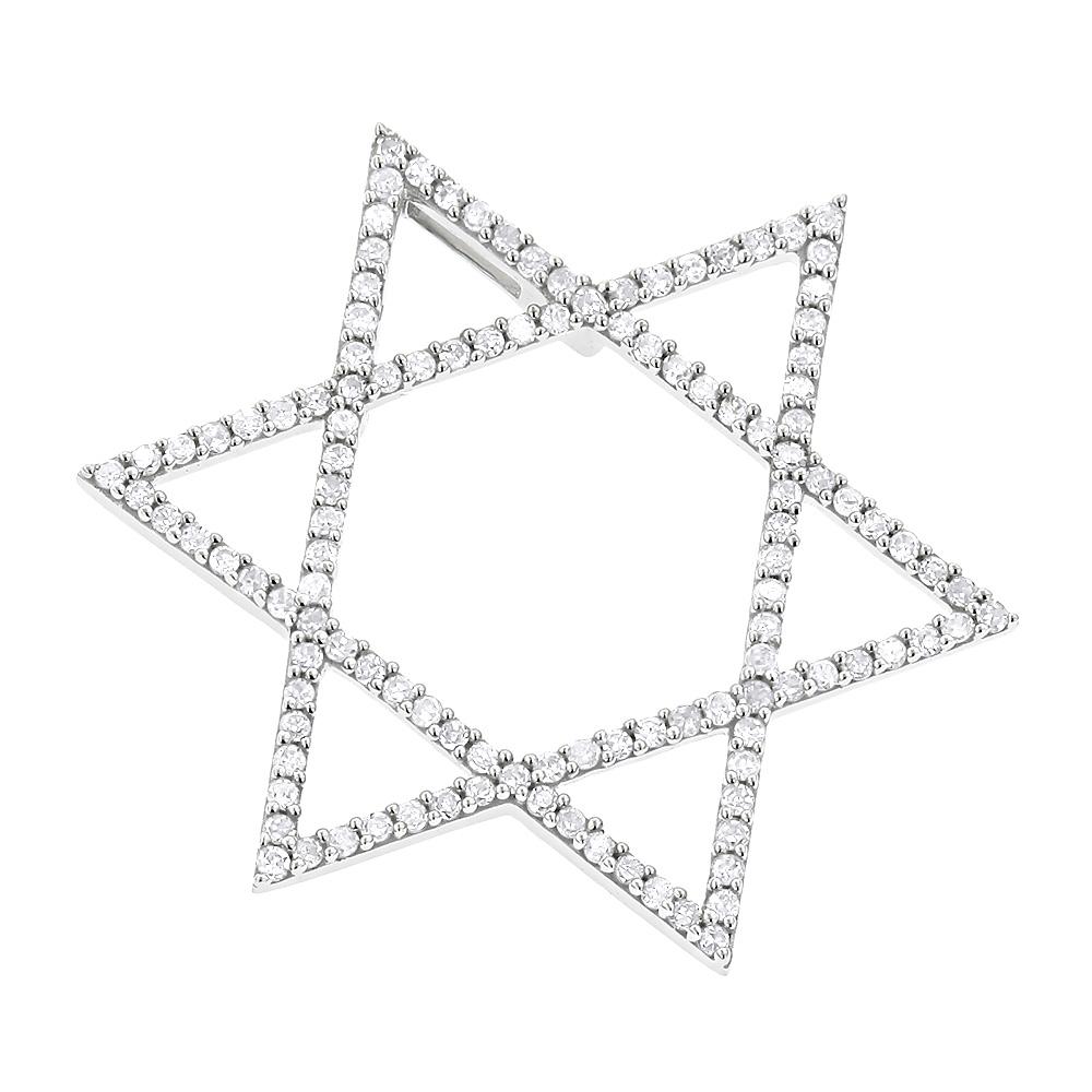 Diamond Star of David Pendant 14K Gold 0.27ct