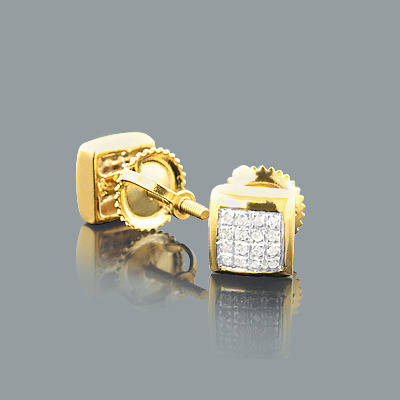 Diamond Stud Earrings 0.15ct Yellow Gold Plated Silver