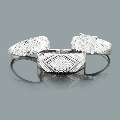 Engagement Wedding Diamond Ring Set in Sterling Silver 0.55ct Trio