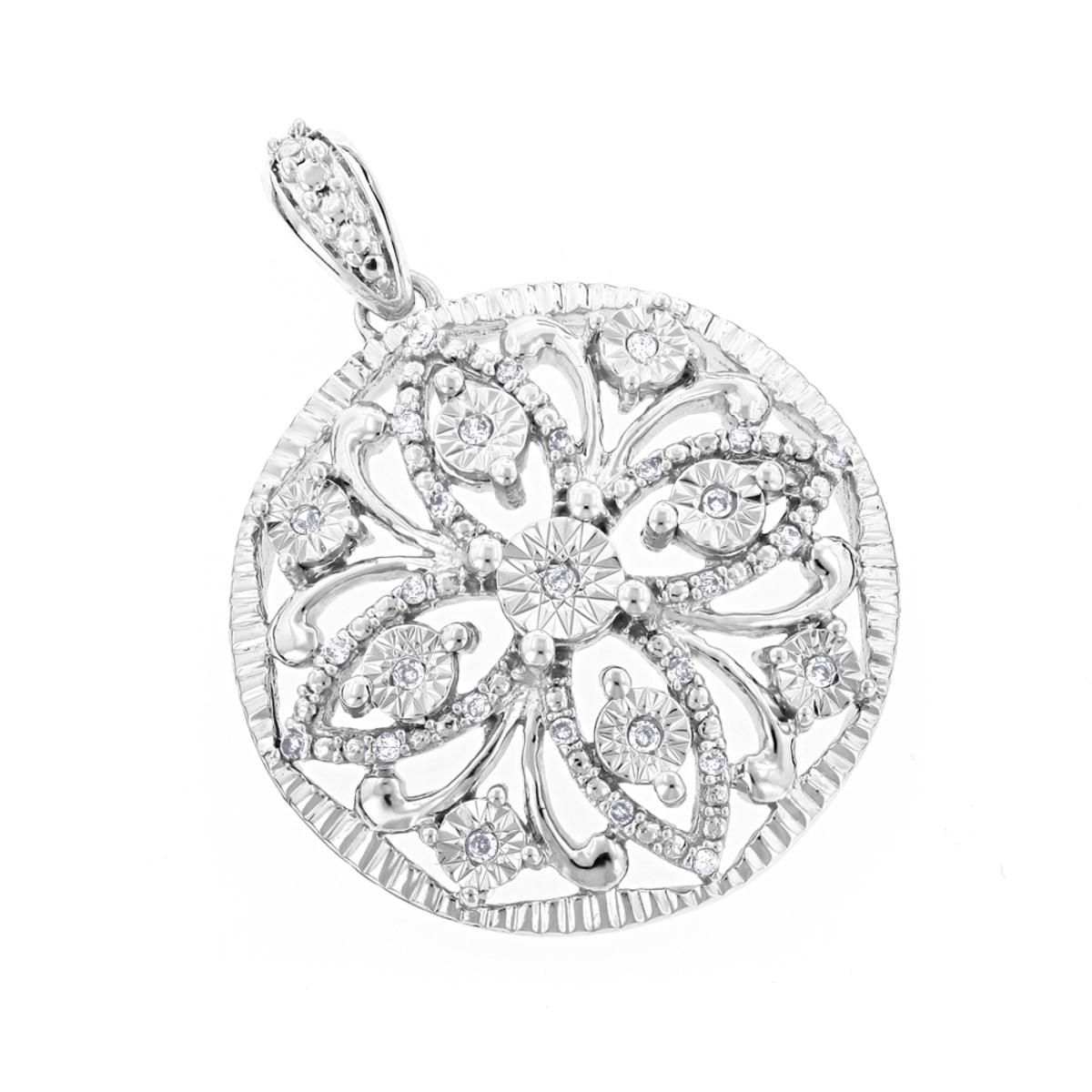 Flower Jewelry: Ladies Diamond Medallion Pendant 0.12ct 10K