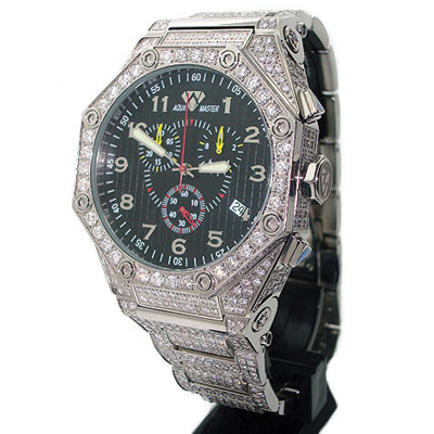 Fully Paved Mens Aqua Master Diamond Watch 17.65ct
